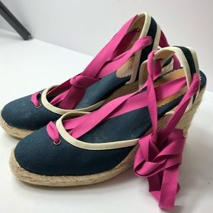 J. Crew Lace Up Wedge Espadrilles Navy Pink